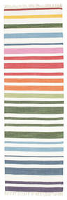Rainbow Stripe - 흰색 러그 80X250 정품  모던 수제 복도용 러너  베이지/화이트/크림 (면화, 인도)