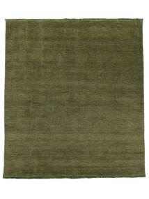 베틀 Fringes - 녹색 러그 250X300 모던 올리브 그린 대형 (울, 인도)