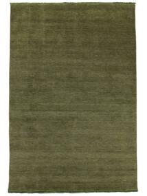 베틀 Fringes - 녹색 러그 250X350 모던 올리브 그린 대형 (울, 인도)