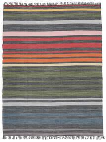 Rainbow Stripe - 회색 러그 250X300 정품  모던 수제 다크 그레이/올리브 그린 대형 (면화, 인도)