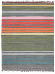 Rainbow Stripe - 회색 러그 200X250 정품  모던 수제 라이트 그레이/올리브 그린 (면화, 인도)