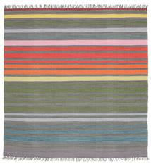 Rainbow Stripe - 회색 러그 200X200 정품  모던 수제 사각형 다크 그레이/라이트 그레이 (면화, 인도)