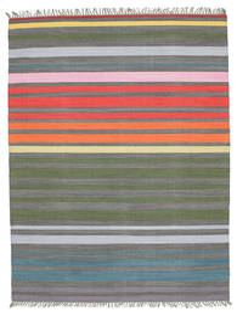 Rainbow Stripe - 회색 러그 160X230 정품  모던 수제 라이트 그레이/다크 그레이 (면화, 인도)