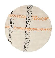 Delight Handtufted - Orange 러그 Ø 150 모던 원형 베이지/라이트 그레이 (울, 인도)