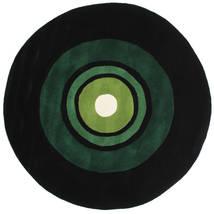 Schallplatte Handtufted 러그 Ø 150 모던 원형 다크 그린 (울, 인도)