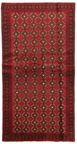 벨루치 러그 100X191 정품 오리엔탈 수제 다크 레드/다크 브라운 (울, 페르시아/이란)