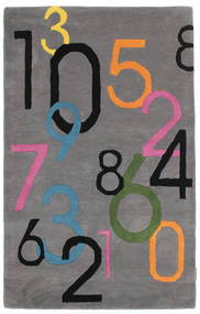 Lucky Numbers - 회색 러그 100X160 모던 다크 브라운/다크 그레이 (울, 인도)