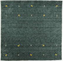 가베 Loom Two Lines - 진한 회색/녹색 러그 200X200 모던 사각형 다크 그린/다크 터코이즈   (울, 인도)