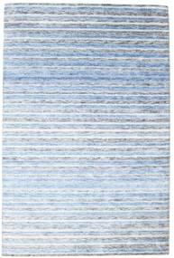대나무 실크 베틀 러그 202X304 정품  모던 수제 라이트 블루/베이지 ( 인도)
