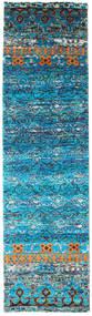 Quito - 청록색 러그 80X300 정품 모던 수제 복도용 러너 터코이즈 블루/블루 (실크, 인도)