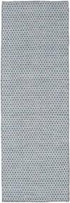 킬림 Honey Comb - 파란색 러그 80X240 정품  모던 수제 복도용 러너  라이트 블루/라이트 그레이 (울, 인도)