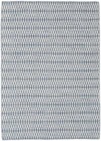 킬림 Long Stitch - 파란색 러그 140X200 정품  모던 수제 라이트 블루/화이트/크림/라이트 그레이 (울, 인도)
