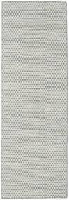 킬림 Honey Comb - 회색 러그 80X240 정품  모던 수제 복도용 러너  라이트 그레이/베이지 (울, 인도)