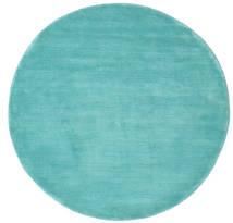 베틀 - Aqua 러그 Ø 150 모던 원형 다크 터코이즈  /터코이즈 블루 (울, 인도)