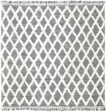 Inez - 진한 갈색/흰색 러그 250X250 정품  모던 수제 사각형 라이트 그레이/베이지 대형 (울, 인도)