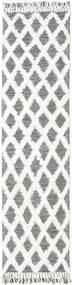 Inez - 진한 갈색/흰색 러그 80X300 정품  모던 수제 복도용 러너  라이트 그레이/화이트/크림 (울, 인도)