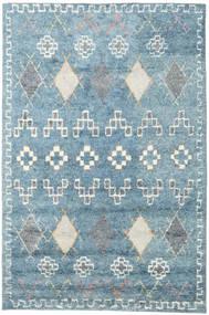 Zaurac - 파란색 회색 러그 200X300 정품  모던 수제 라이트 블루/화이트/크림 (울, 인도)