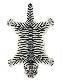 Tiger - 흰색 러그 100X160 모던 블랙/베이지 (울, 인도)