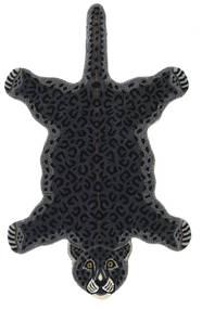 Leopard - 검정색 러그 100X160 모던 다크 그레이 (울, 인도)