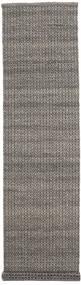 Alva - 갈색/검정색 러그 80X350 정품  모던 수제 복도용 러너  다크 그레이/라이트 그레이 (울, 인도)
