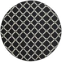 London - 검정색/황백색 러그 Ø 225 정품 모던 수제 원형 블랙 (울, 인도)
