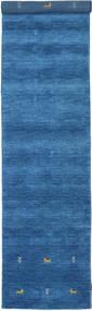 가베 Loom Two Lines - 파란색 러그 80X350 모던 복도용 러너  블루/다크 블루 (울, 인도)
