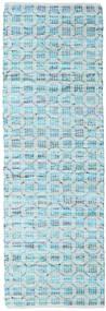 Elna - Bright_Blue 러그 80X350 정품  모던 수제 복도용 러너  라이트 블루/터코이즈 블루 (면화, 인도)