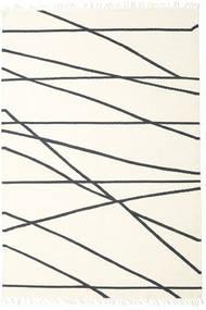 Cross Lines - 황백색/검정색 러그 250X350 정품  모던 수제 베이지/화이트/크림 대형 (울, 인도)