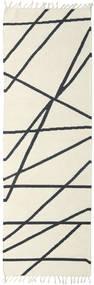 Cross Lines - 황백색/검정색 러그 80X350 정품 모던 수제 복도용 러너 베이지/다크 그레이 (울, 인도)