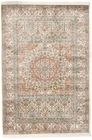 카슈미르 순수 실크 러그 127X186 정품 오리엔탈 수제 라이트 그레이/베이지 (실크, 인도)