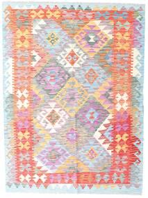 킬림 아프가니스탄 올드 스타일 러그 132X178 정품  오리엔탈 수제 화이트/크림/라이트 핑크 (울, 아프가니스탄)