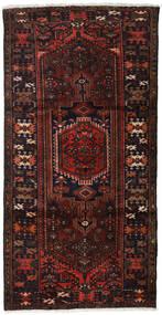 하마단 러그 109X210 정품 오리엔탈 수제 다크 브라운/다크 레드 (울, 페르시아/이란)