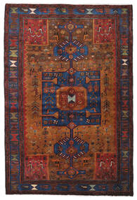하마단 러그 138X204 정품 오리엔탈 수제 다크 레드/다크 브라운 (울, 페르시아/이란)