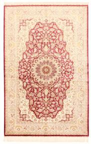 쿰 실크 러그 132X201 정품 오리엔탈 수제 베이지/라이트 핑크 (실크, 페르시아/이란)