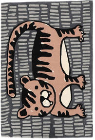 Cool Cat - 회색/핑크색 러그 120X180 모던 다크 그레이/라이트 그레이 (울, 인도)