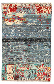 Moroccan 베르베르 - Afghanistan 러그 89X140 정품  모던 수제 라이트 그레이/블루 (울, 아프가니스탄)
