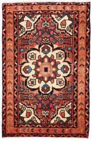 Hosseinabad 러그 65X101 정품 오리엔탈 수제 다크 브라운/베이지 (울, 페르시아/이란)