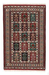 Turkaman 러그 98X146 정품 오리엔탈 수제 다크 브라운/다크 레드 (울, 페르시아/이란)