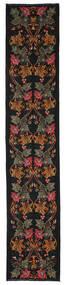 로즈 킬림 Moldavia 러그 82X420 정품 오리엔탈 수제 복도용 러너 블랙/다크 레드 (울, 몰도바)