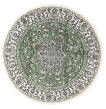 나인 러그 Ø 200 정품 오리엔탈 수제 원형 베이지/다크 그린 (울, 페르시아/이란)