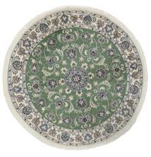 나인 러그 Ø 150 정품 오리엔탈 수제 원형 화이트/크림/다크 그린 (울, 페르시아/이란)