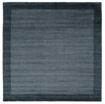 베틀 Frame - Petrol 파란색 러그 300X300 모던 사각형 블랙/다크 블루 대형 (울, 인도)